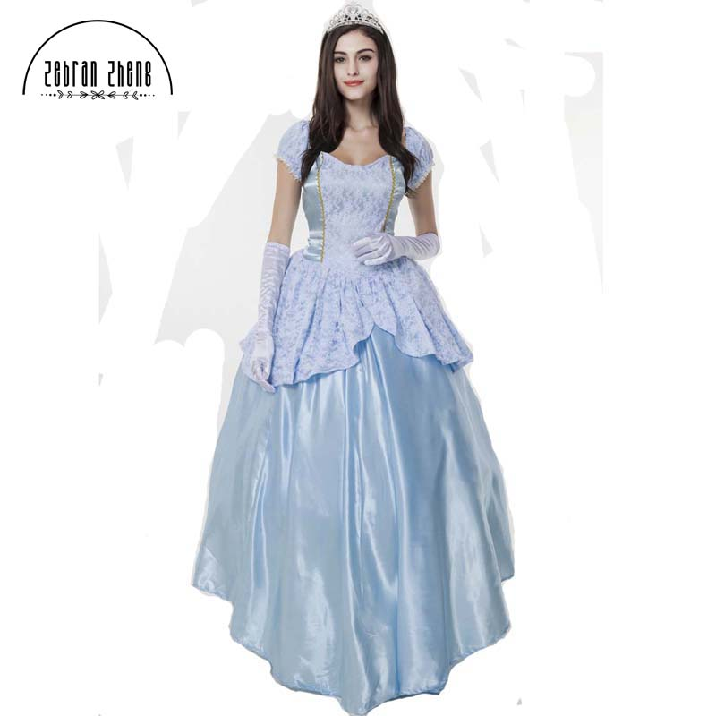 Home Adult Cinderella Deluxe Dresses Paternity Suit Halloween Party Cosplay Costume