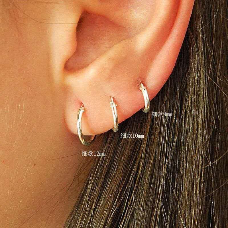 e9abb8ace2f45 US $1.84 31% OFF|925 Sterling Silver Simple Ear Bone Hoop Earrings For  Women Mini Small Hoop Earrings Ear Bone Buckle Round Circle Earrings  Hoops-in ...