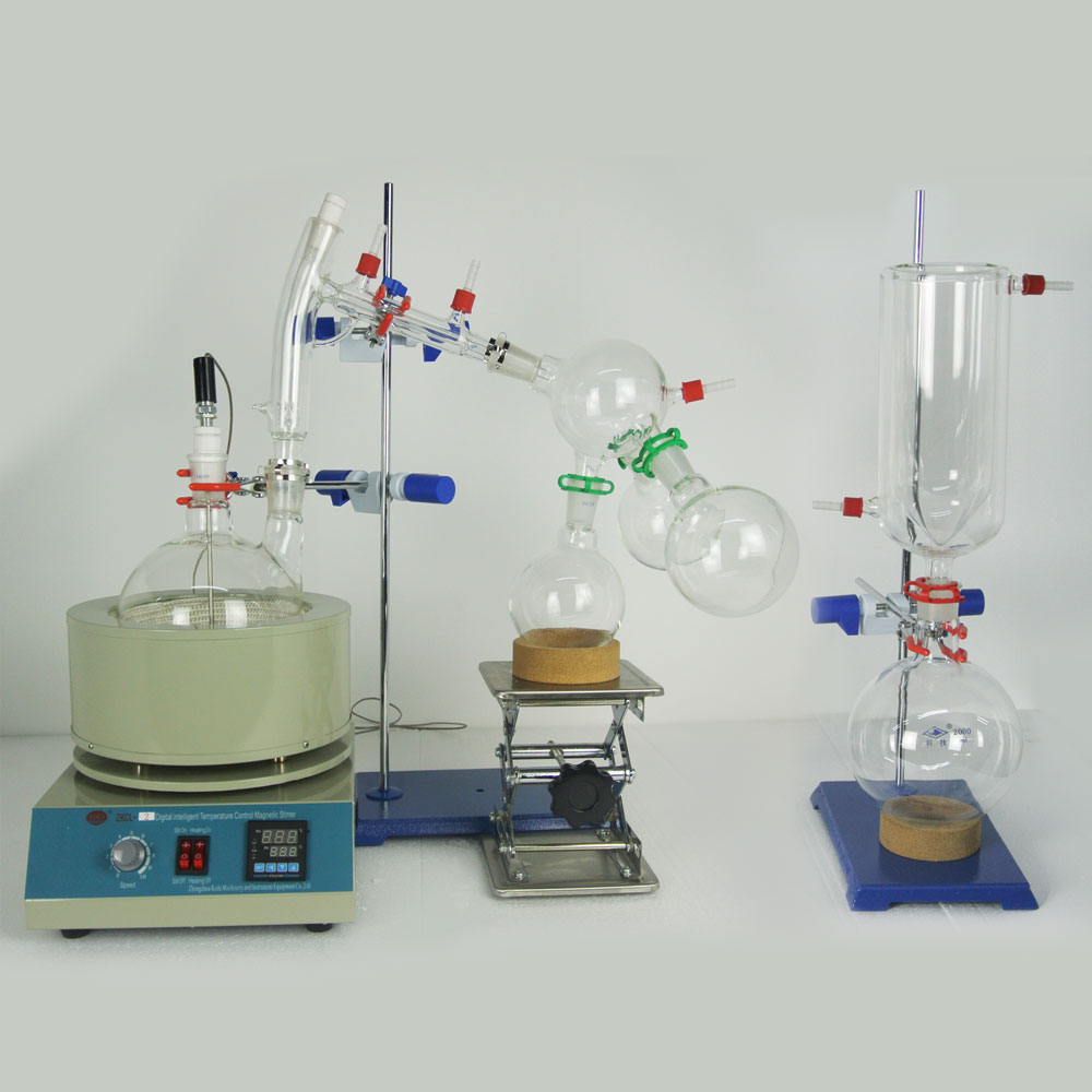Lab Hot Scale Small Short Path Distillation Equipment 2L Short Path Distillation With Stirring Heating Mantle Include Cold trap path