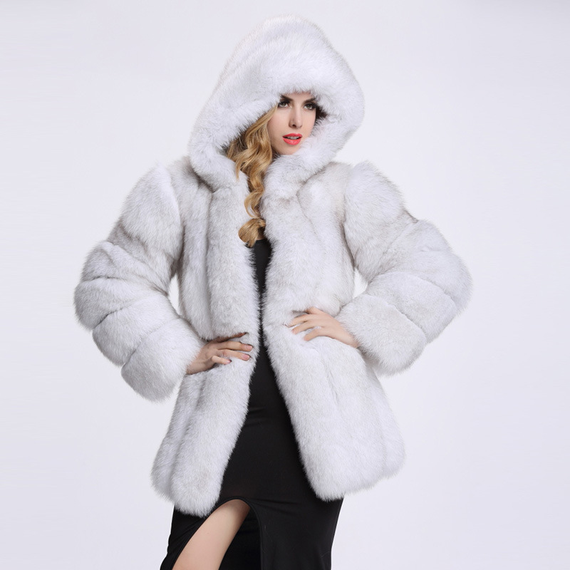 2019 Argent Chaud Imitation Taille Manteau 6xl hiver Capuche Veste De Haute Grande Pardessus À blanc Fourrure Hiver Renard Femme Épais noir uTF1J3lKc5