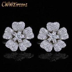 Na moda cwwzircons famosa marca geométrica zircônia cúbica pedras brincos de flor coreano moda feminina jóias cz362