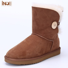 INOE Fashion nature fur wool winter snow boots for women winter shoes real sheepskin leather buttons high quality free shipping