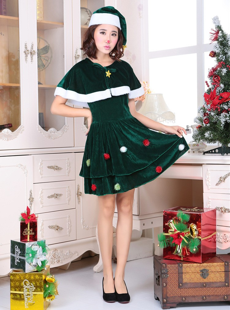 adult women cosplay santa claus costume kawaii girls dress green christmas tree female celebrate party show elegant xmas dress in dresses from womens - Green Christmas Dress