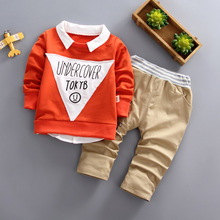 DIIMUU 2Pcs Kids Fashion Boys Clothes Tops + Trousers Children Set 2 Pieces Long Sleeve Boy Suit Costume Printed