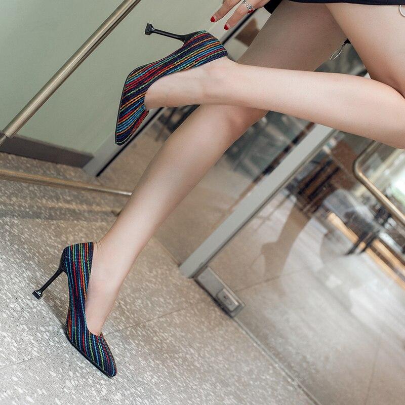 Minces Femme Zapatos Pompes Pu Ciel 9 Kjstyrka Qualité Marque Haute Cm Talons Femmes Designer Chaussures 2018 Dames orange vert Troupeau Bureau Mujer 7zawqg8