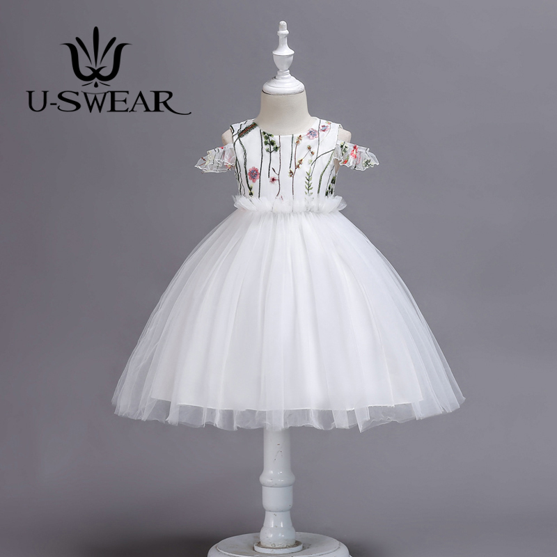 U-SWEAR 2019 New Arrival   Flower     Girl     Dresses   Flora Embroidery Off Shoulder Mesh Lace   Flower     Girl   Pageant Ball Gown Vestido