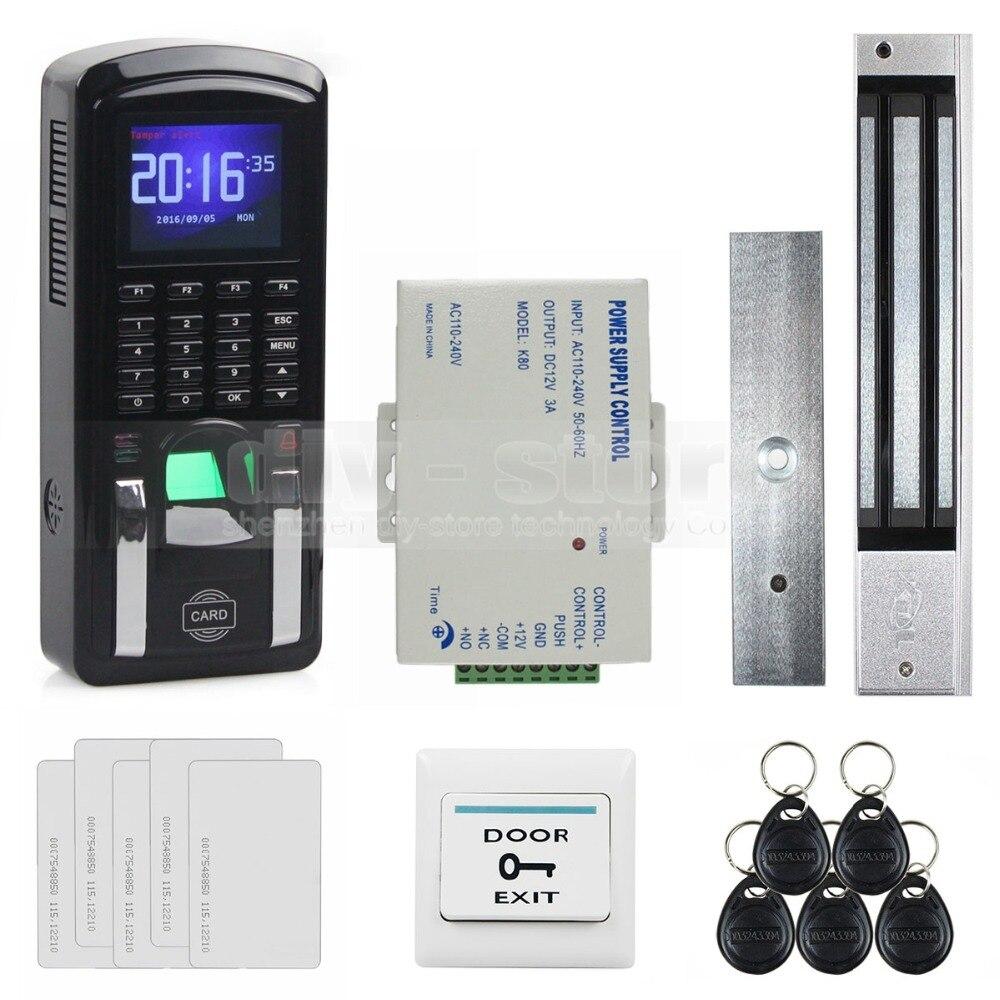 DIYSECUR tcp/ip USB lecteur de carte d'identité d'empreintes digitales mot de passe clavier système de contrôle d'accès de porte + alimentation + Kit de verrouillage magnétique