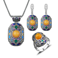 2016 New Arrival Antique Silver Plated Turkish Jewellery Set Colorful Enamel Ethnic Vintage Jewelry Sets For Women