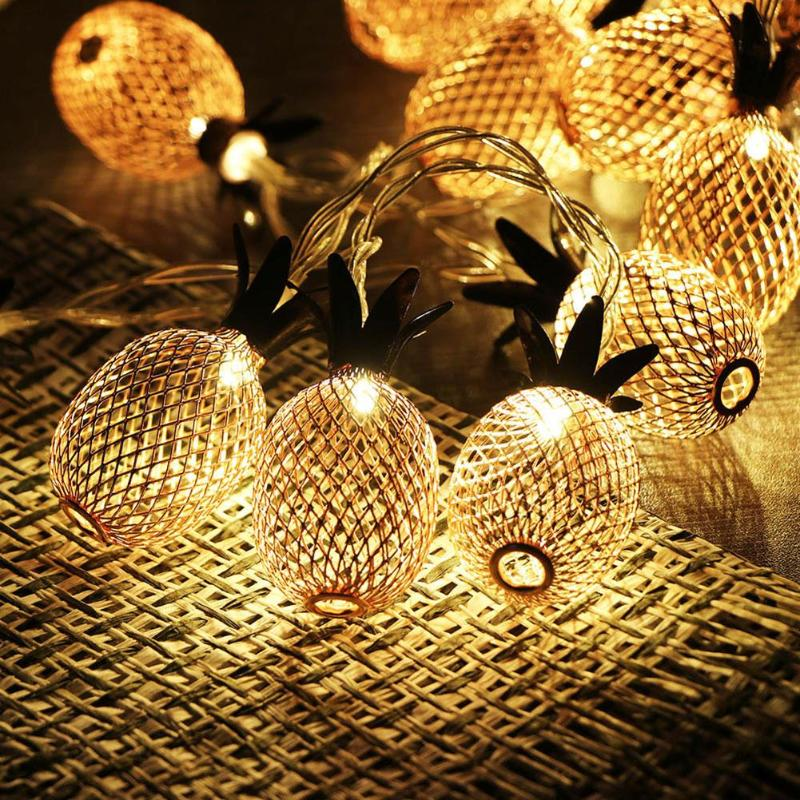 LED Pineapple Shaped Night Lights Fairy String Light Curtain Fruit Lamp Party Bedroom Home Decoration