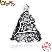 Real 925 Sterling Silver Twinkling Christmas Tree Clear CZ Charm Fit Bracelet Necklace Jewelry Making PAS233