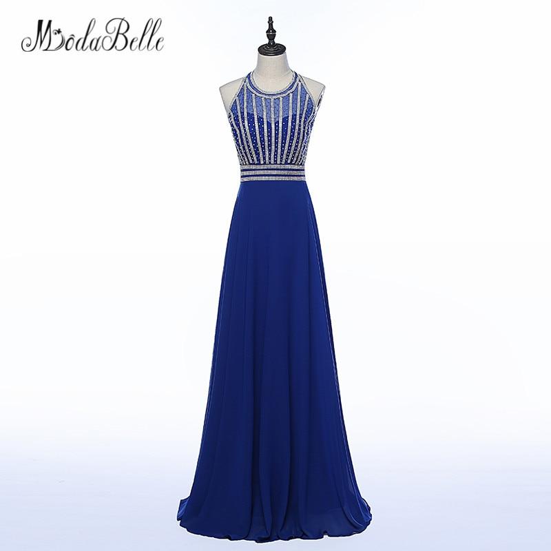 Modabelle Beaded Elegant Backless Prom Dresses Blue Long Vestidos De