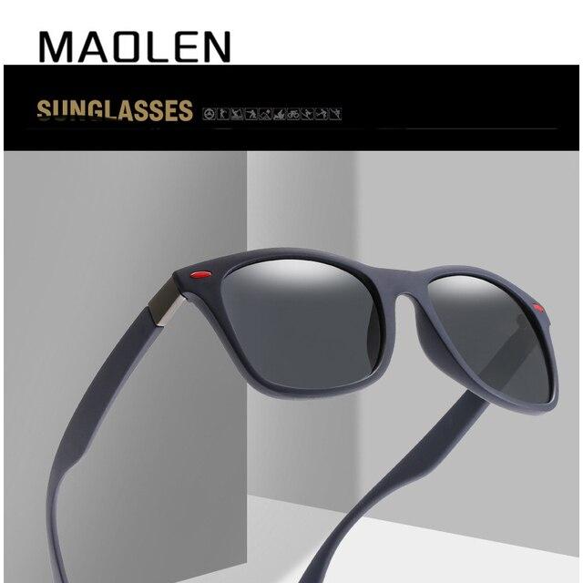 f1a7462bc92 MAOLEN Brand Classic Polarized Sunglasses Men Women Driving Men s Square  Frame Sun Glasses Male Goggle UV400 Gafas