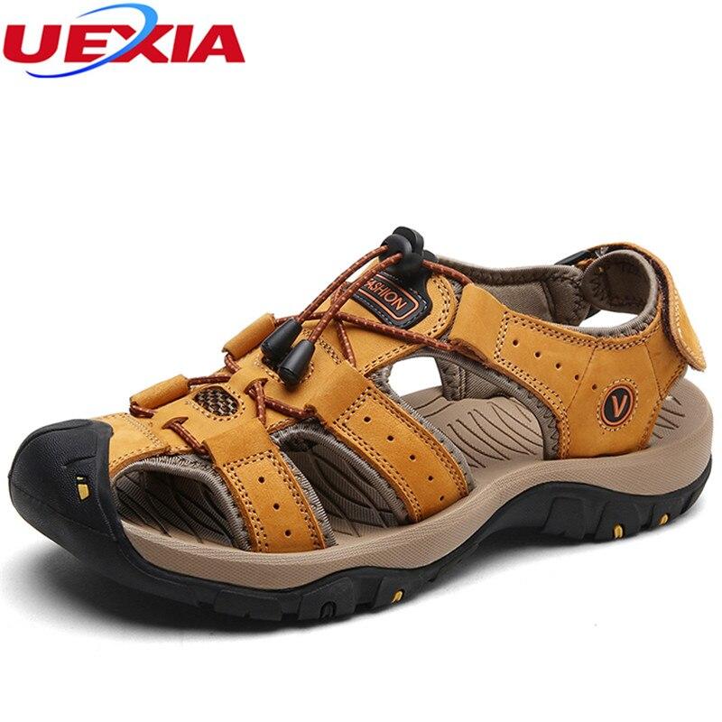 Uexia сандалии для Для мужчин прочный Летняя обувь дышащие кожаные унисекс мягкие пляжные шлепанцы Повседневное Мужская обувь большой Размер... ...