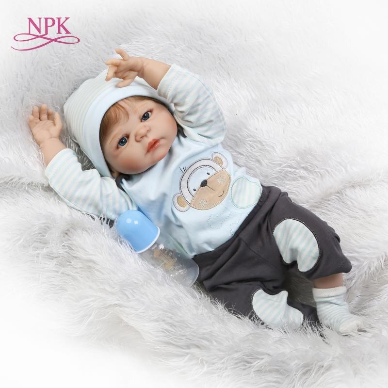 купить NPk 55cm Silicone reborn baby boy doll toy like real full silicone body newborn babies doll bebe reborn bonecas girls gift по цене 4555.15 рублей