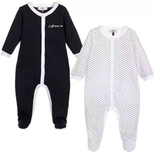 New Baby two-piece printing romper suit Baby infant letter embroidery Package foot jumpsuits +Hat set  wholesale