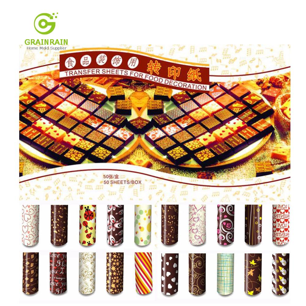 Grainrain Colorful DIY Chocolate Transfer Sheet Food Decoration Paper (50 pcs / set)-in Baking & Pastry Tools from Home & Garden    1