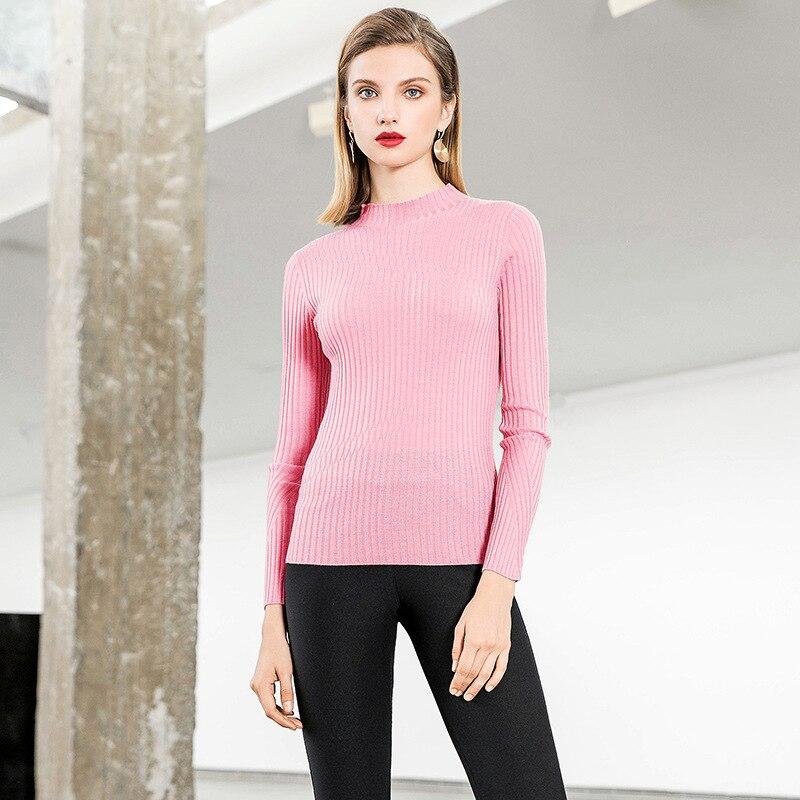 Larga rosado Medio amarillo Sólido Otoño púrpura Mujeres Manga 2018 Delgado Suéter Alto Elástico Beige Nueva negro Knit azul Cuello Básico 44xvBqwT