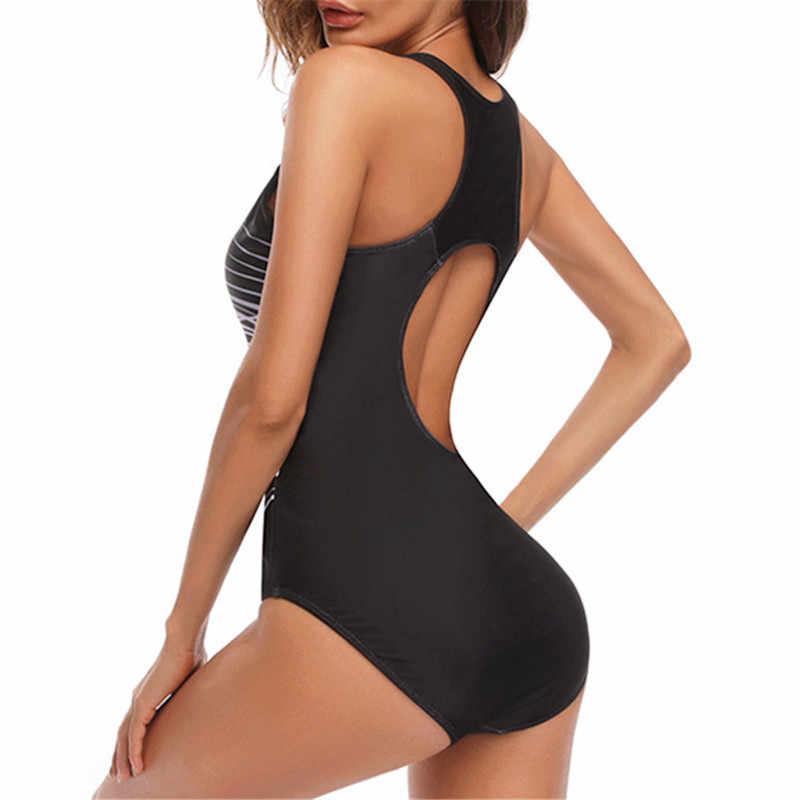 Bkning Black One Piece Swimwear Women 2019 Summer Colorful Large One-piece Swimsuit for Vintage Bathing Suits Plus Size 2XL XXXL
