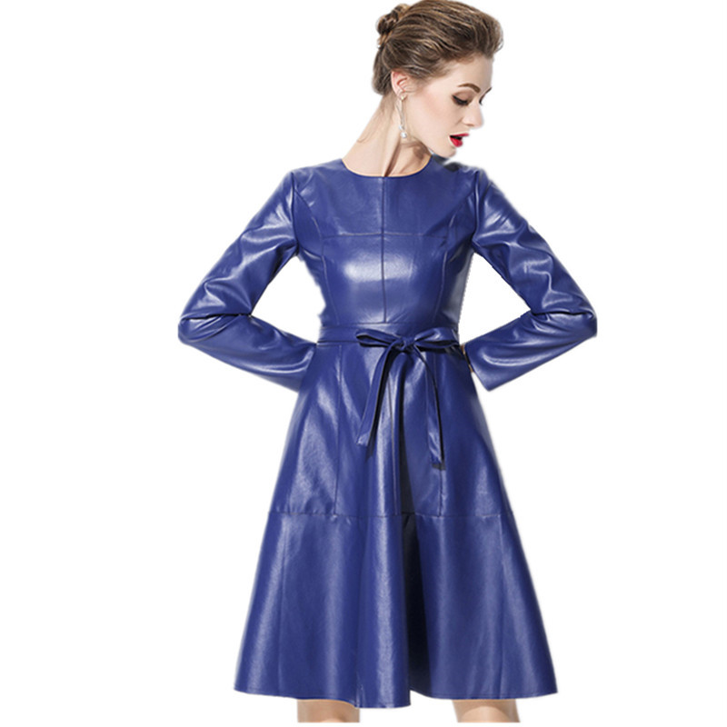 US $30.79 23% OFF|JSXDHK Vestidos Plus Size Faux Leather Dress Newest 2018  Autumn Women Blue PU Leather Long Sleeve Casual With Belt Dress S 2XL-in ...