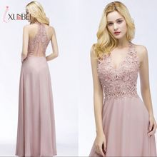 Robe demoiselle d'honneur Sexy V Neck Dusty Pink Lace Bridesmaid Dresses Long A Line Chiffon Pears Formal Prom Party Gowns