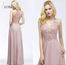 Robe demoiselle dhonneur Sexy V Neck Dusty Pink Lace Bridesmaid Dresses Long A Line Chiffon Pears Formal Prom Party Gowns