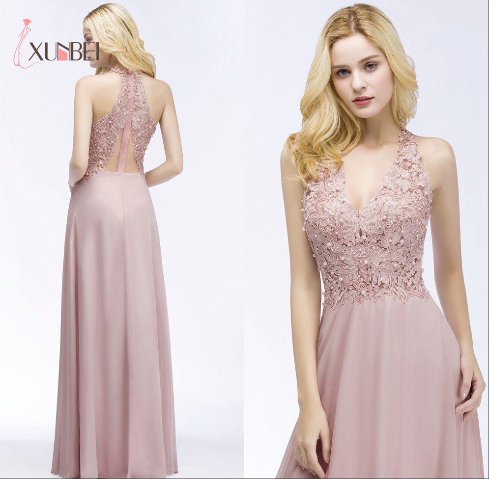 Robe demoiselle d'honneur Sexy V Neck Dusty Pink Lace   Bridesmaid     Dresses   Long 2019 A Line Chiffon Pears Formal Prom Party Gowns