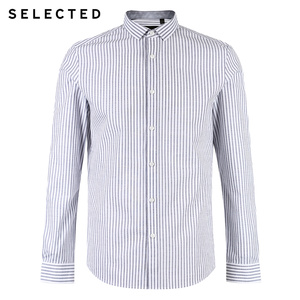 Image 5 - SELECTED new cotton striped mens slim business casual long sleeved shirt S