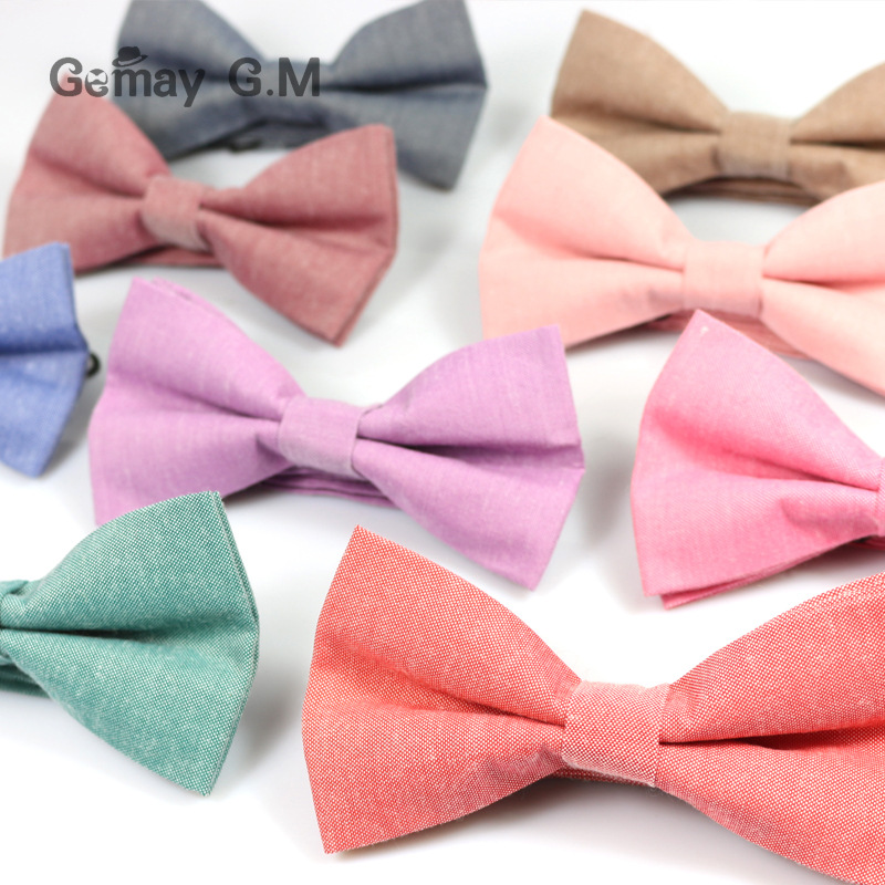 New Men's Solid Color Cotton Bow Tie Double Candy-colored Suit Bowtie Unisex Cotton Double-deck Bowties For Man Male Neckwear