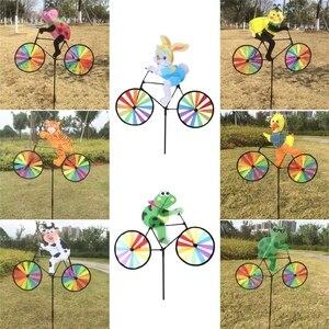 Conejo abeja tigre en bicicleta molino de viento DIY Animal bicicleta Spinner Whirligig césped y jardín aparatos decorativos para niños juguetes al aire libre G22