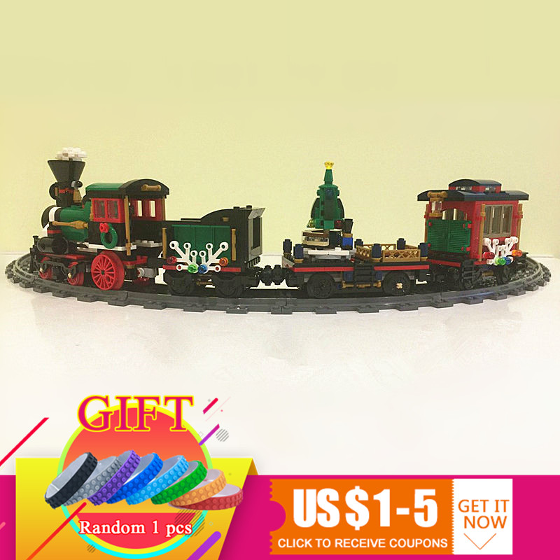36001 770Pcs The Christmas Winter Holiday Train Set Children Educational Building Blocks Toys Compatible with 10254 Lepin the mountain shadow