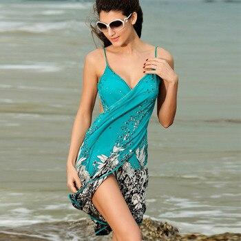 Saida de praia women summer Beach Dress Beach Cover Up Bikini Wrap Negril floral Print crossed beachwear Sarong pareo FJ41714 h2 2