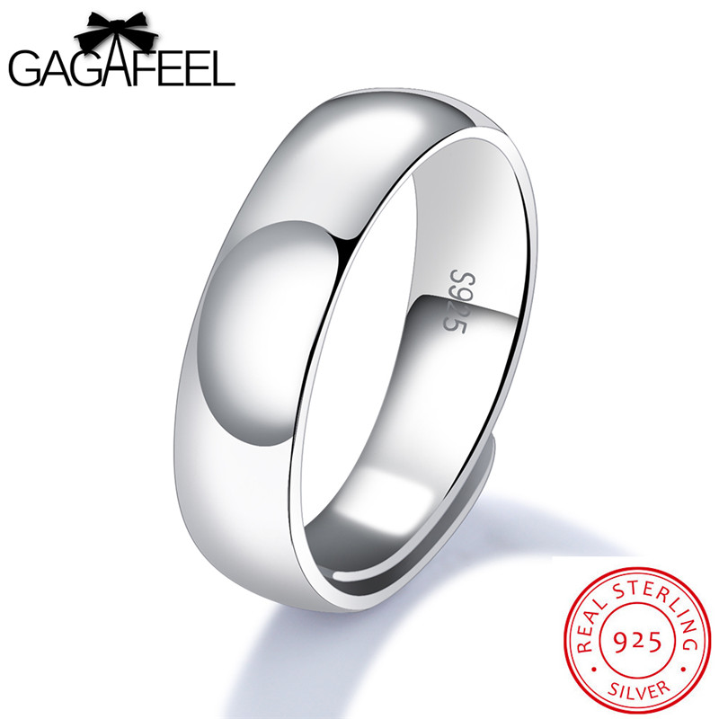 все цены на GAGAFEEL Men Jewelry Genuine 925 Sterling Silver Ring Fine Smooth Open Design Resizable 3 Type Surface Width Wedding Bijoux New
