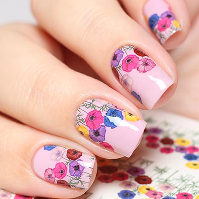 WUF 1 Sheet Water Transfer Nail Stickers Colorful Flower Pattern Decals Taattoo For Nail Art Beauty Decoration Tools 1pcs water nail art transfer nail sticker water decals beauty flowers nail design manicure stickers for nails decorations tools