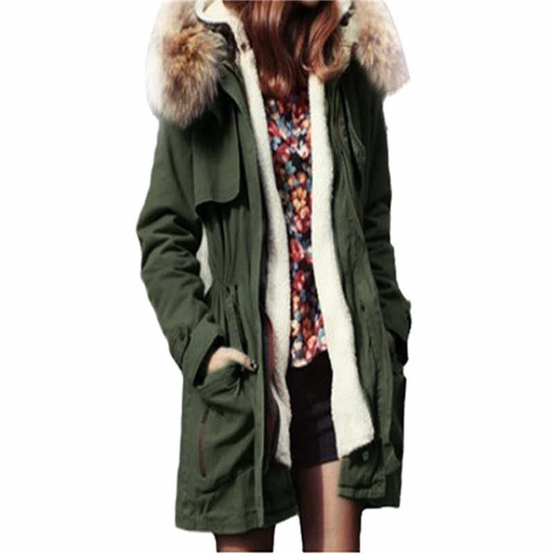 f6d560bd442aa New Women Winter Army Green Jacket Coats Thick Parkas Plus Size Faux Fur  Collor Hooded Outwear