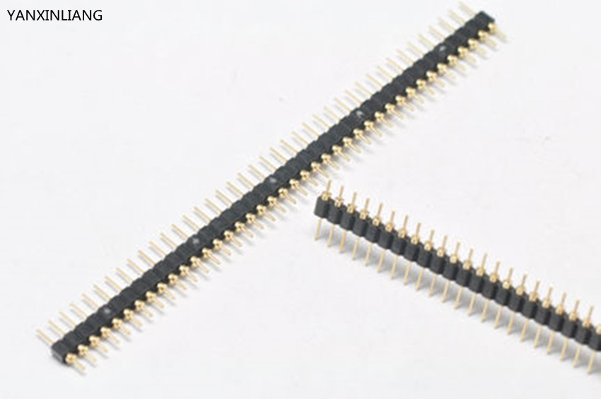 10Pcs Gold Plated Pitch 2.54mm Male 40 Pin Single Row Straight Round Pin Header Strip 10pcs gold plated 40pin 2 54mm female socket single row pin header strip rohs