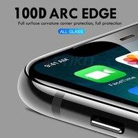 Vidro de proteção de borda curvada 100D no para iPhone 7 8 6 6s Plus Protetor de tela temperado para iPhone 11 Pro X XR XS Max Glass 4