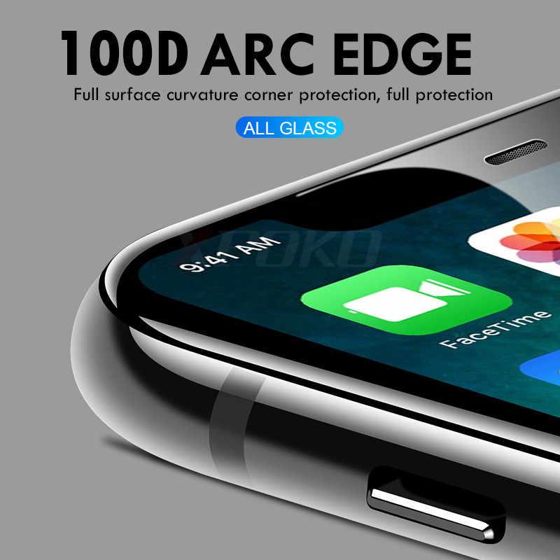 100D 湾曲縁保護ガラス iphone 7 8 6 6s プラス強化スクリーンプロテクター iphone 11 Pro X XR XS 最大ガラス