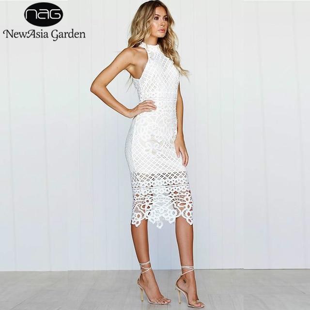 NewAsia Garden Sexy Summer Dress Women Lace White Dress Long Midi Dress  Floral Ladies Party Dresses 986c3d6e762c