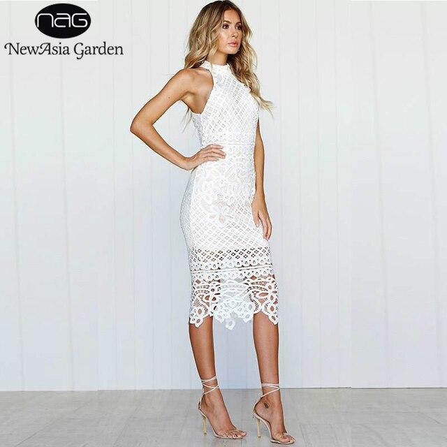 c590e03f277 Newasia Garden Sexy Summer Dress Women Lace White Dress Long Midi