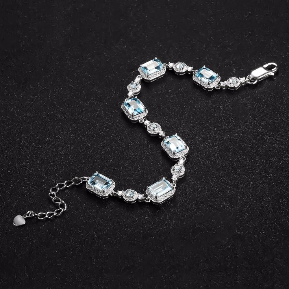 GEM'S balet 19.01Ct naturalne błękitny Topaz bransoletka dla kobiet w porządku biżuteria oryginalna 925 Sterling Silver bransoletki z kamieniami szlachetnymi w Bransoletki i obręcze od Biżuteria i akcesoria na  Grupa 3