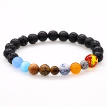 Universe Galaxy the Nine Planets in the Solar System Guardian Star Natural Stone Beads Bracelet Bangle for Women & Men Gift