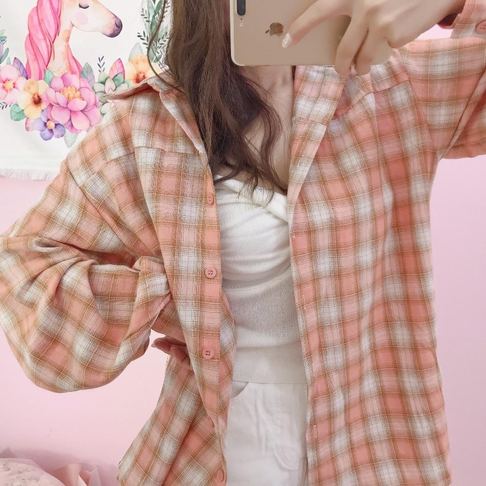 Princesse douce lolita blouse printemps frais fille lanterne manches mode treillis paresseux et décontracté Design coréen chemise XH014