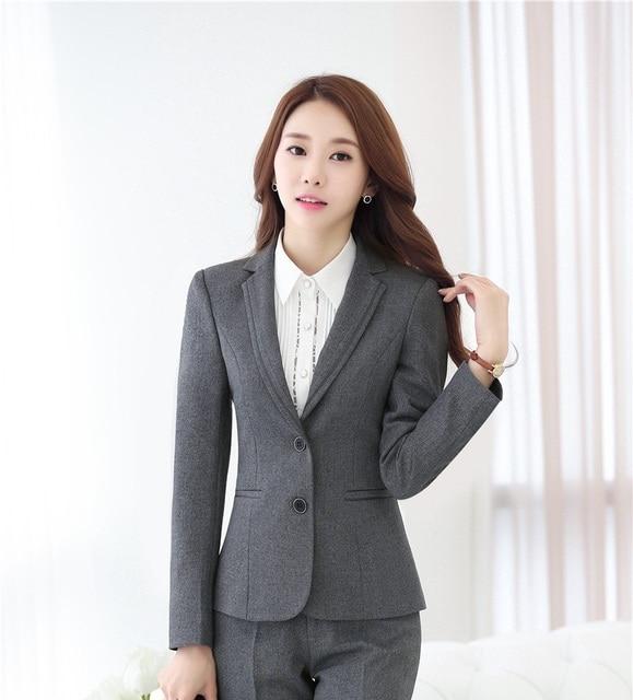 4c29cc92dd6 Novelty Gray Long Sleeve Professional Fashion Slim Jackets   Blazer Coat  Formal Autumn Winter Ladies Blazers