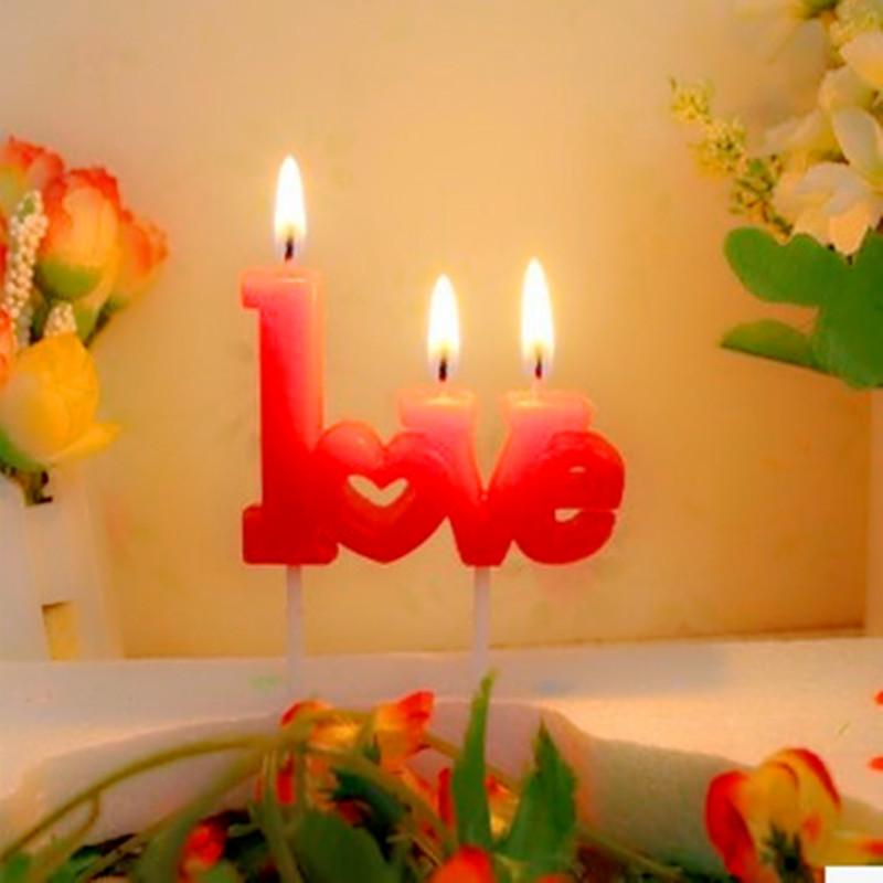 unids carta de amor vela torta de la boda decoracin velas pastel de cumpleaos fuentes
