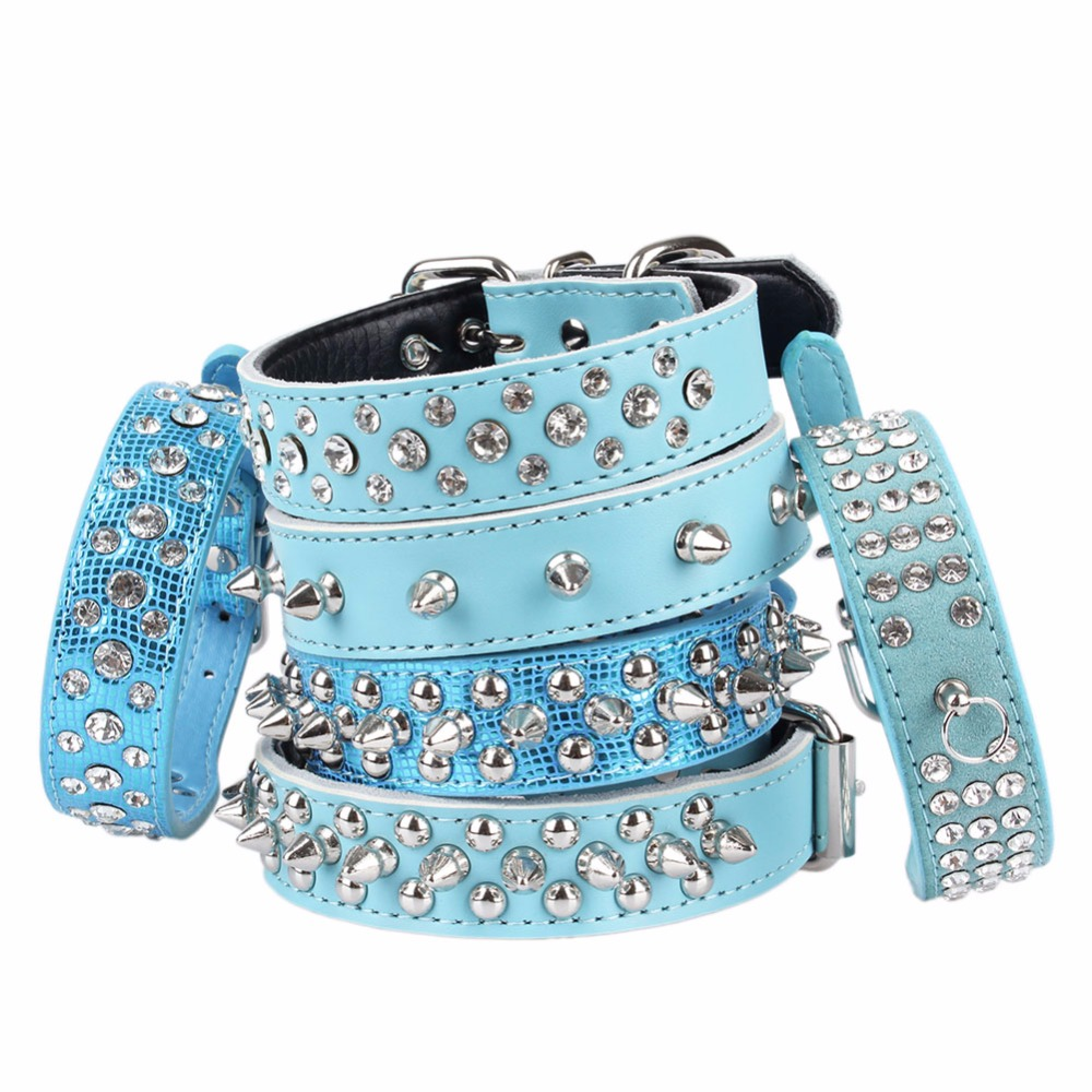 Blue Small Large Dogs Collars Cat Animals Rivet Spiked Rhinestone For Puppy Big Dog Pet Product Collar Necklace greyhound Strap