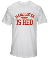 2017 New Fashion Manchester City Shirt United Kingdom Red Letter Print T Shirt Cotton Short Sleeve