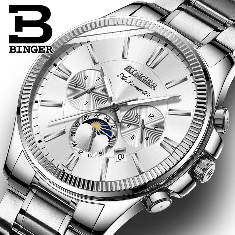 BINGER Watch Men Luxury Brand Automatic Mechanical Watch Sapphire Wristwatches Moon Phase relogio masculino Men Watches