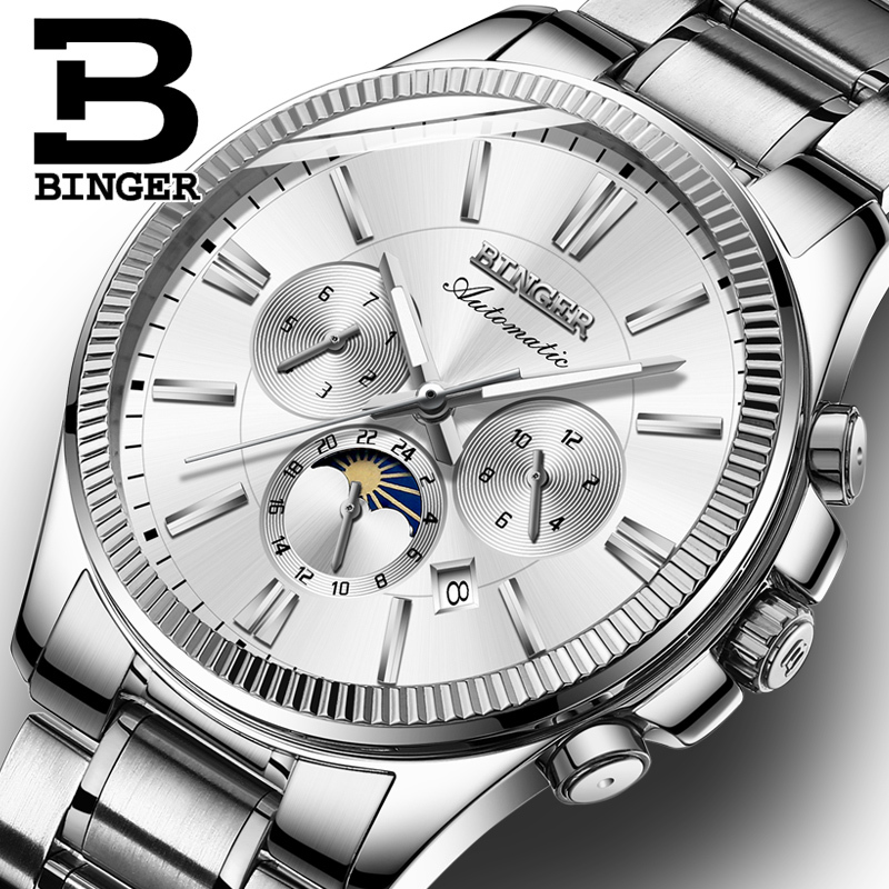 BINGER Watch Men Luxury Brand Automatic Mechanical Watch Sapphire Wristwatches Moon Phase relogio masculino Men Watches B1180-6 unique smooth case pocket watch mechanical automatic watches with pendant chain necklace men women gift relogio de bolso