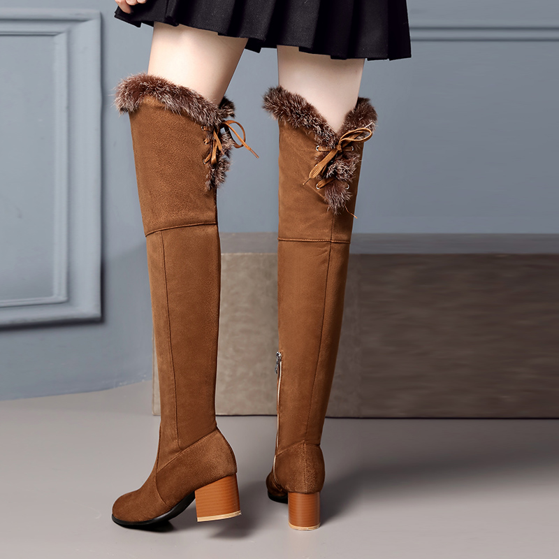 Women Boots Over the Knee Boot Plush Black Fur High Heels Women Boots Botas Mujer Winter Casual Boots Outwear Shoes Women in Over the Knee Boots from Shoes