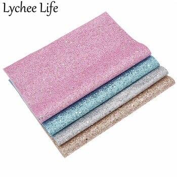 Lychee Life 29x21cm purpurina fina tela de cuero sintético Color sólido A4 PU tela DIY hecha a mano costura suministros Decoración